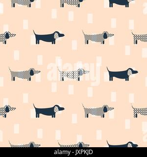 Dachshund dog scandinavian seamless vector peach colored pattern. - Stock Photo