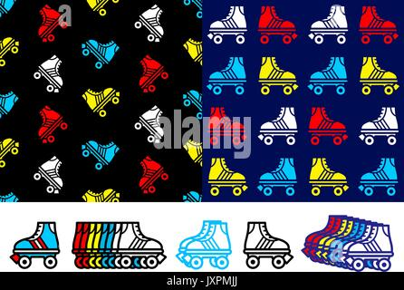 Roller skate seamless background pattern with colorful red, blue, yellow and white skate icons in two different - Stock Photo