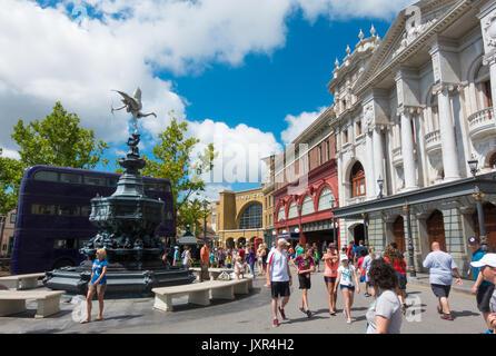 The Knight Bus and Shaftesbury Memorial Fountain in Universal Studios, Orlando, Florida. - Stock Photo