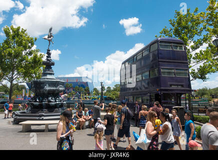 The Knight Bus and Shaftesbury Memorial Fountain in Universal Studios, Orlando, Florida. - Stock Photo