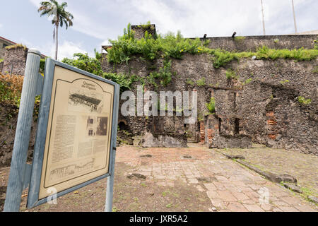 Quartier du Figuier in Saint Pierre, Martinique, was destroyed by Mount Pelee eruption in 1902. - Stock Photo