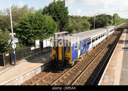 Arriva Rail North (Northern) sprinter diesel train in Prudhoe rail station, Northumberland, England - Stock Photo
