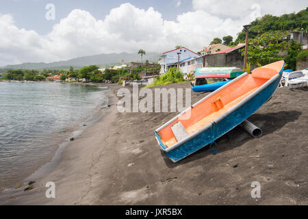 Volcanic sand beach at Saint Pierre, Martinique - Stock Photo