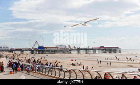 Blackpool, UK. 17th Aug, 2017. UK Weather. Hot sunny weather brings out the crowds onto Blackpool beach and Promenade. - Stock Photo