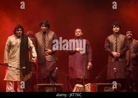 Edinburgh, Scotland, United Kingdom, 17th August 2017. Qawwali legend singer from Pakistan, Faiz Ali Faiz and his - Stock Photo