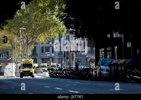 Barcelona, Spain. 17th Aug, 2017. Ambulances are seen near Plaza Catalonia following a terrorist attack in central - Stock Photo