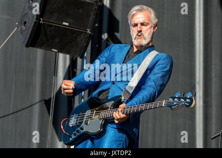 MADRID - JUN 23: Triggerfinger (rock music band) perform in concert at Download (heavy metal music festival) on - Stock Photo