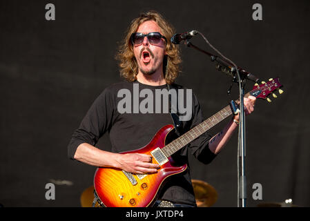 MADRID - JUN 23: Opeth (rock music band) perform in concert at Download (heavy metal music festival) on June 23, - Stock Photo
