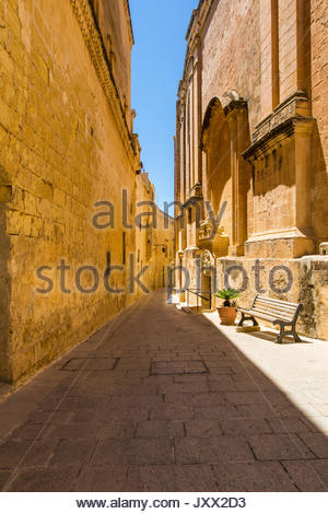 narrow lane in mdina, malta - Stock Photo