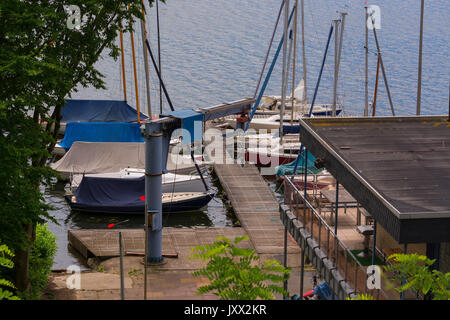 Essen in Germany, panoramic view from Baldeney Lake (Baldeneysee) - Stock Photo