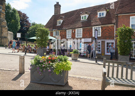 Battle, Burtons restaurant and tearooms, with people dining outside Battle Abbey, East Sussex, England, UK, GB - Stock Photo