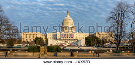 Washington DC, USA - January 15th 2017 -The West of the US Capitol Building prepared for the 58th presidential inauguration - Stock Photo