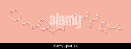 Quizartinib cancer drug molecule (kinase inhibitor). Skeletal formula. - Stock Photo