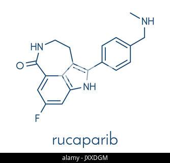 Rucaparib cancer drug molecule (PARP1 inhibitor). Skeletal formula. - Stock Photo