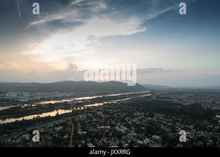 A panoramic view of Vienna in the sunset - Stock Photo