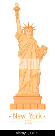 Statue of Liberty Cartoon with torch Flat Design Style Landmark  famous Tourism Symbol of Freedom Vector Web Element - Stock Photo