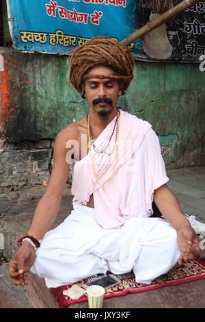 Hindu Swami -- A sadhu (holy man), Sadhu, Swami, Babba, a sādhu (Sanskrit sādhu, 'holy man'  (Copyright © Saji Maramon) - Stock Photo