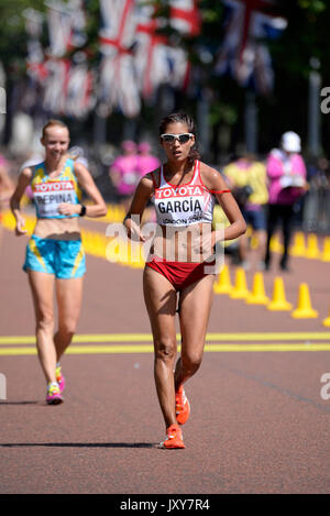 Kimberly Garcia of Peru competing in the IAAF World Athletics Championships 20k walk in The Mall, London. Space - Stock Photo