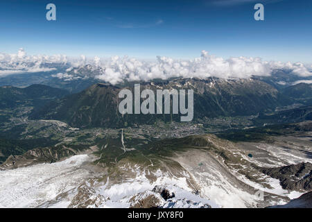 The Valley of Chamonix-Mont-Blanc viewed from the Aiguille du Midi mountain - Stock Photo