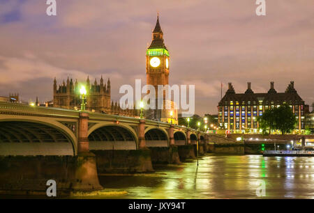 The Big Ben and Westminster Bridge in London. - Stock Photo