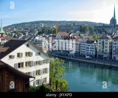 A view of the city center and the Limmat River in Zurich Switzerland from the observation deck on Lindenhof Hill. - Stock Photo