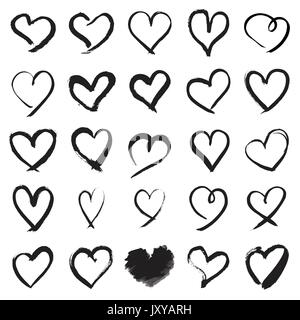 Hand painted heart symbols - Stock Photo