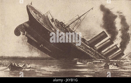 May 7th 1915 - A contemporary depiction of the sinking of the ocean liner RMS TITANIC. - Stock Photo