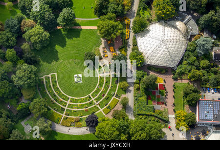Music pavilion in the Grugapark with Liegewiese and emblem, Essen, Ruhr area, North Rhine-Westphalia, Germany, eating, - Stock Photo