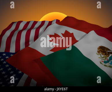 Mexico, USA and Canada North American Free Trade Agreement NAFTA, sunset clause - Stock Photo