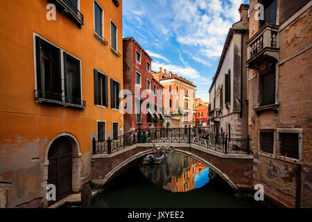 Quiet, residential canal in Venice, Italy. - Stock Photo