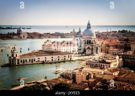 The church of Santa Maria della Salute seen from above in Venice, Italy. - Stock Photo