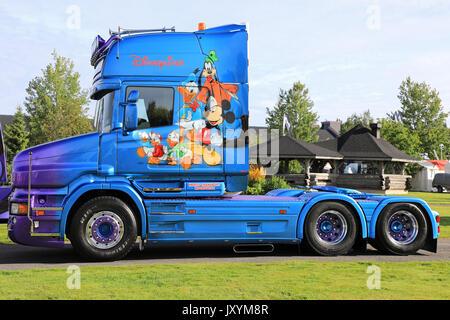 ALAHARMA, FINLAND - AUGUST 11. 2017: Blue Scania T cab truck Disneyliner 2.0 of Heros Transport with popular Disney - Stock Photo