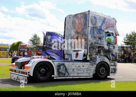 ALAHARMA, FINLAND - AUGUST 11, 2017: German Scania R480 truck tractor Rolling Stones with images of the famous rock - Stock Photo