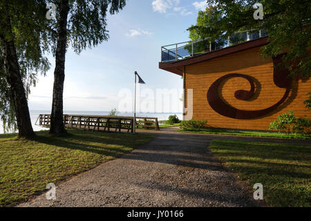 Lake Museum and Limnological Station open to the lake. Lake Võrtsjärv, Estonia 16th august 2017 - Stock Photo