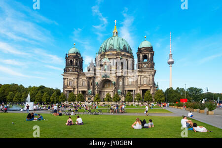 View of Berlin Cathedral (Berliner Dom) and Lustgarten square in summer in Mitte, Berlin, Germany - Stock Photo