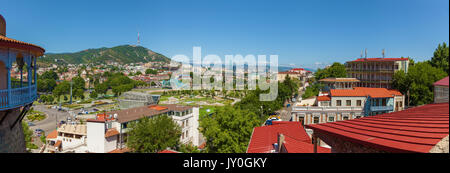 Old city of Tbilisi view of the roofs, bridges, mountains, streets, roads. - Stock Photo