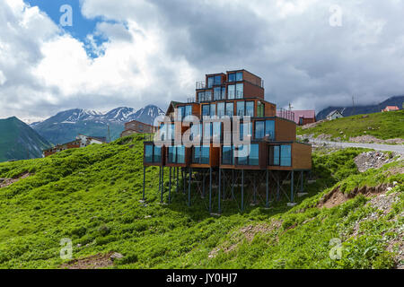 Gudauri, Georgia - 2017 July 27:an unusual hotel is in a skiing resort Gudauri, Picturesque views along the way - Stock Photo