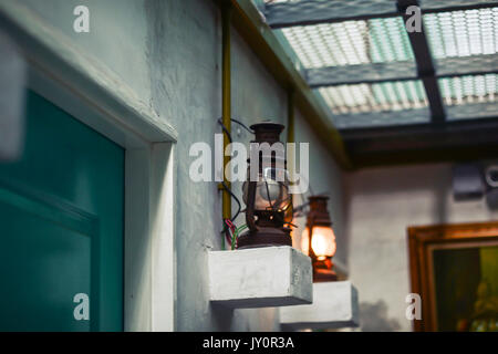 Classic vintage wall lamp in Hostel - Stock Photo