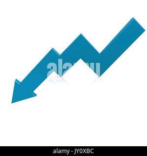 Crisis arrow blue image with hi-res rendered artwork that could be used for any graphic design. - Stock Photo