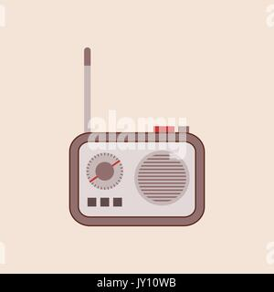 Cute vintage radio transistor with an antenna. Vector illustration of a retro portable radio with buttons. Small - Stock Photo