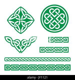 Celtic Irish green patterns and knots - vector, St Patrick's Day     Set of traditional Celtic symbols, knots, braids - Stock Photo