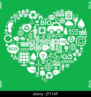 Eco green heart shape background - ecology, recycling concept    I love ecology, recycling, footprint, green power - Stock Photo