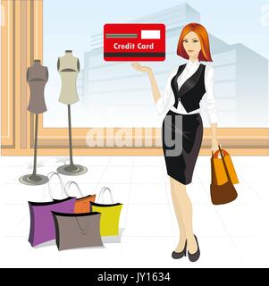Beautiful girl with a credit card in a store and shopping, vector illustration - Stock Photo