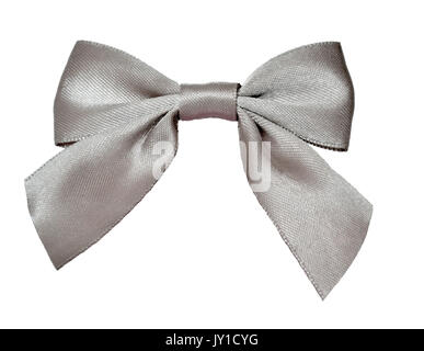 Elegant classic silver ribbon bow isolated on a white background. Bow can decorate clothing or gifts and holiday - Stock Photo