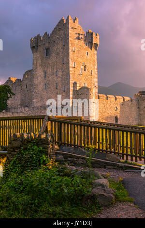 Ross Castle is a 15th-century tower house and keep on the edge of Lough Leane, in Killarney National Park, County - Stock Photo