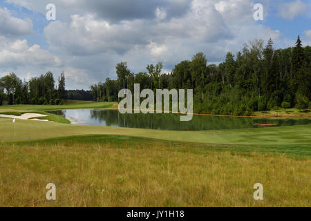 Tseleevo, Moscow region, Russia - July 24, 2014: Golf course in the Tseleevo Golf & Polo Club during the M2M Russian - Stock Photo