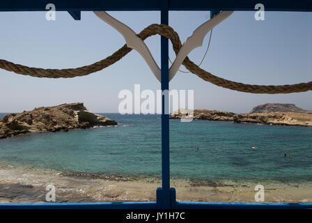 Greece, Karpathos island, Lefkos village, harbor and beach - Stock Photo