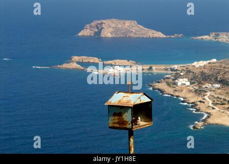 Greece, Aegean Islands, Karpathos island, Lefkos village and harbor 'Afieroma', oratories or ex-voto - Stock Photo
