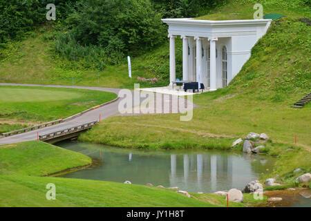 Tseleevo, Moscow region, Russia - July 24, 2014: Arbor in the Tseleevo Golf & Polo Club during the M2M Russian Open. - Stock Photo