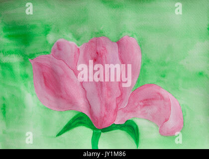 One big pink colour magnoliaflower  on green background, illustration painting watercolor. - Stock Photo